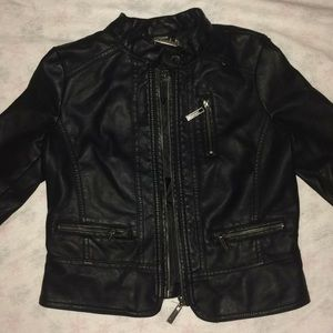 """JOUJOU"" cute feminine black real leather jacket."